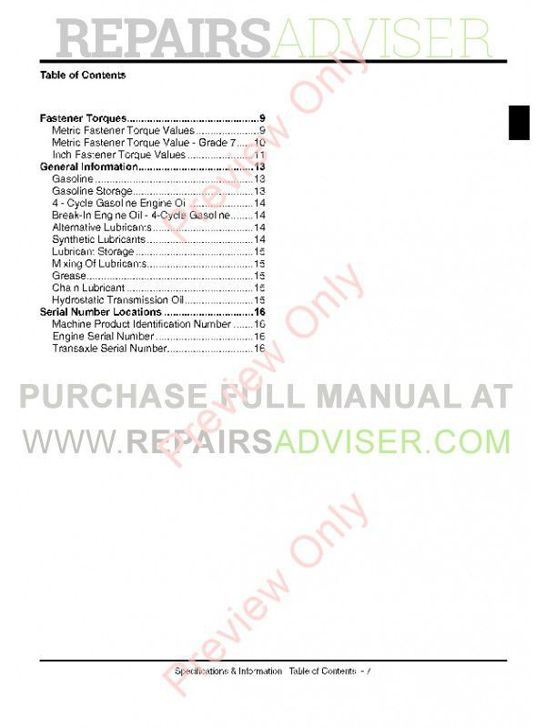 John Deere 100 Series Tractors Technical Manual TM-2328 PDF, John Deere Manuals by www.repairsadviser.com