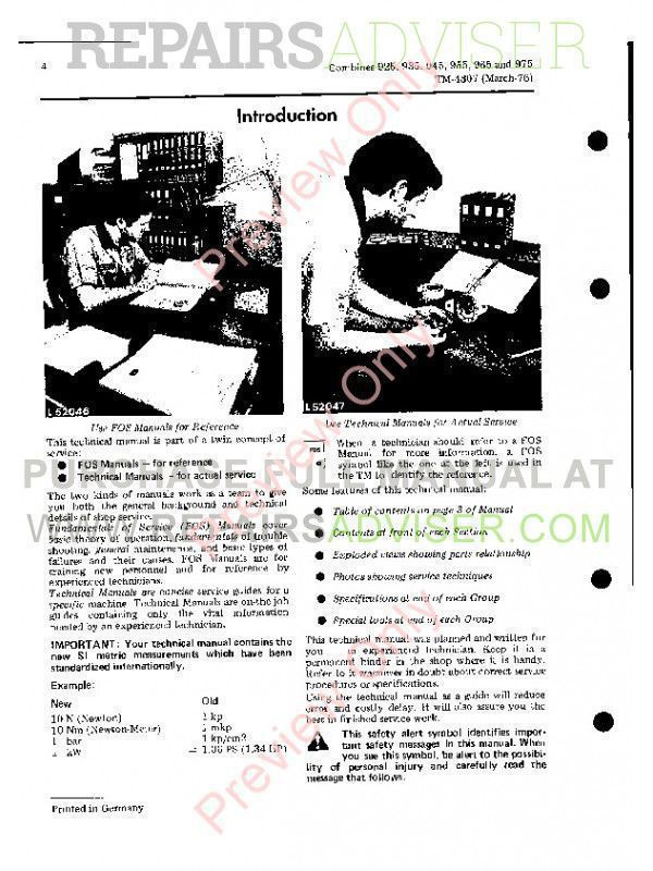 wiring diagram, john john deere combines 925 935 945 955 965 975  tm-4307 technical manual on john