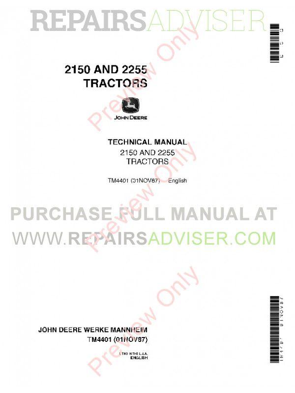 john deere 2150 2255 tractors technical manual tm4401 pdf john deere 2150 and 2255 tractors technical manual tm 4401 pdf