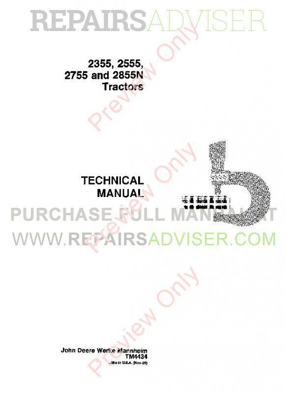 John Deere 2355 2555 2755 2855N Tractors TM4434 PDF Instant Download – John Deere 2355 Engine Diagram