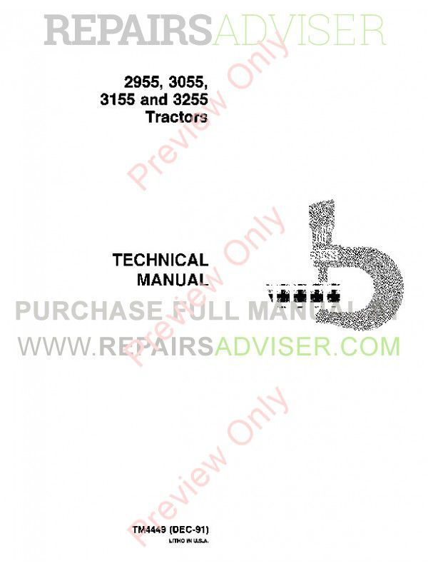 John Deere 2955 3055 3155 3255 Tractors Technical Manual TM-4449 PDF image #1