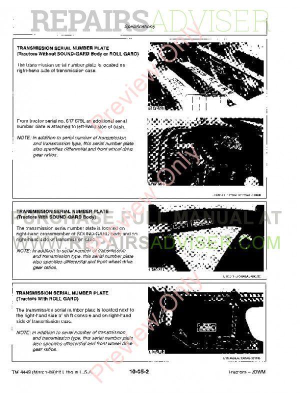 John Deere 2955 3055 3155 3255 Tractors Technical Manual