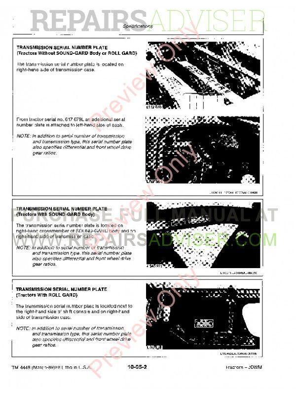 John Deere 2955 3055 3155 3255 Tractors Technical Manual TM-4449 PDF, John Deere Manuals by www.repairsadviser.com