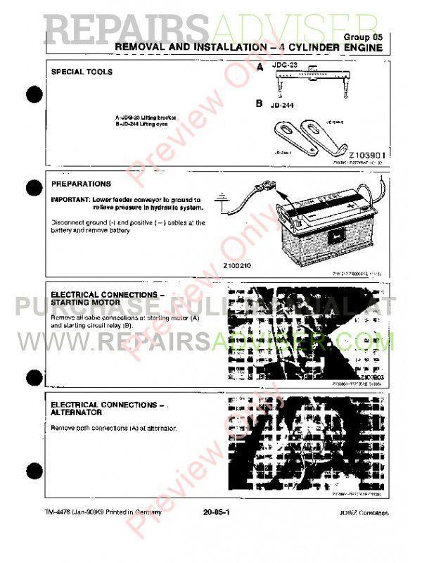 John Deere 1133 1144 1155 1157 1158 Combines TM-4476 Technical Manual PDF, John Deere Manuals by www.repairsadviser.com