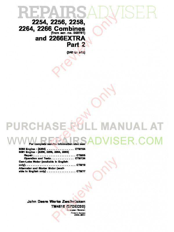 John Deere 2254 2256 2258 2264 2266 Combines TM-4544 & TM-4594 & TM-4616 PDF Manuals image #1