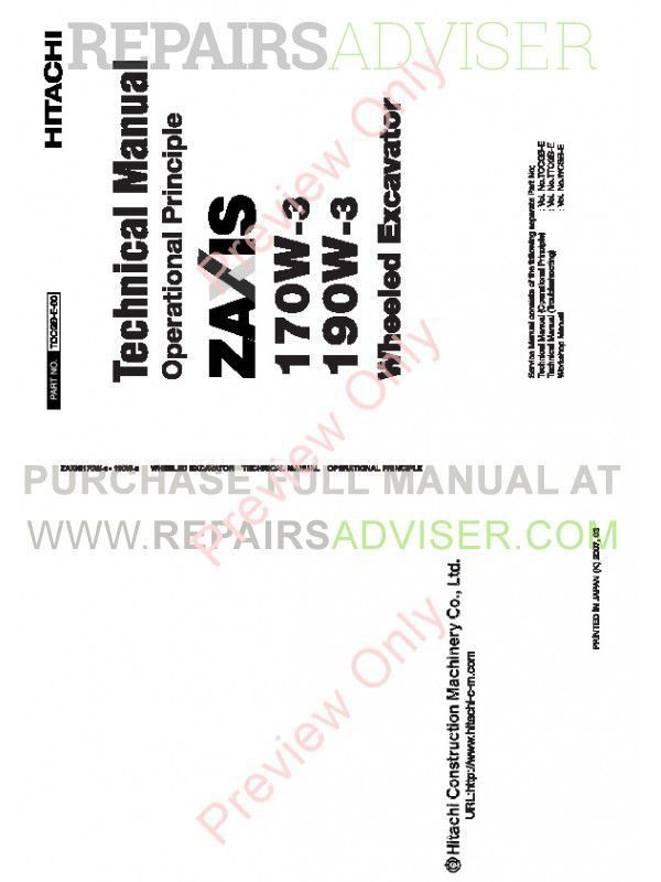 Hitachi Zaxis ZX170W-3 & ZX190W-3 Wheeled Excavator Technical Manual PDF