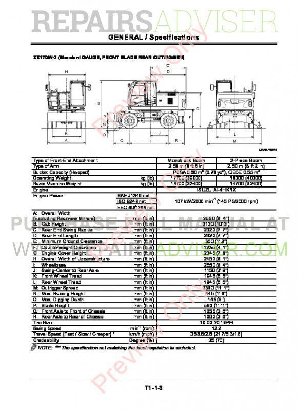 Hitachi Zaxis ZX170W-3 & ZX190W-3 Wheeled Excavator Technical Manual PDF, Hitachi Manuals by www.repairsadviser.com