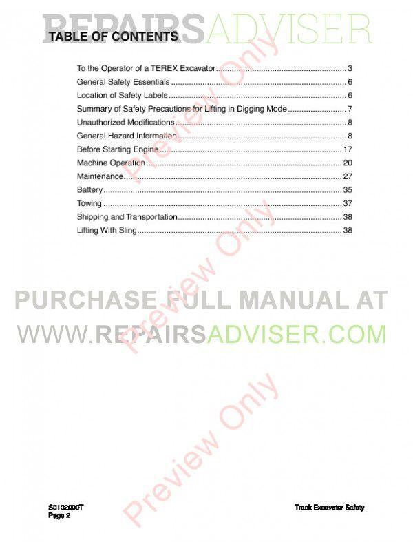 Terex TXC 140LC-1 Hydraulic Excavator Shop Manual PDF, Terex Manuals by www.repairsadviser.com