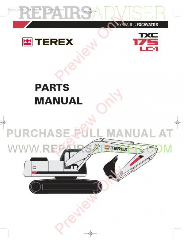Terex TXС 175LC-1 Hydraulic Excavator Parts Manual PDF Download