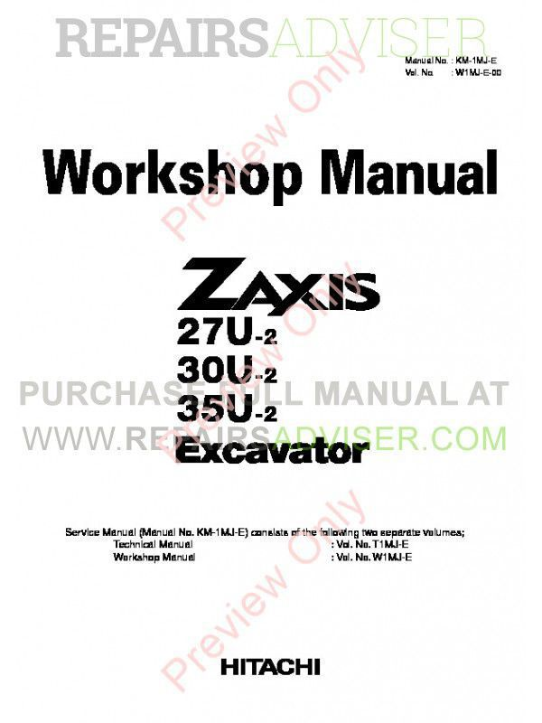 Hitachi Zaxis 27U-2 30U-2 35U-2 Excavator Workshop Manual PDF image #1