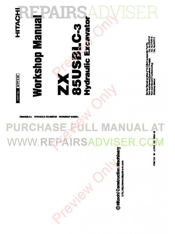 Hitachi ZX85USBLC-3 Hydraulic Excavator Workshop Manual PDF image #1