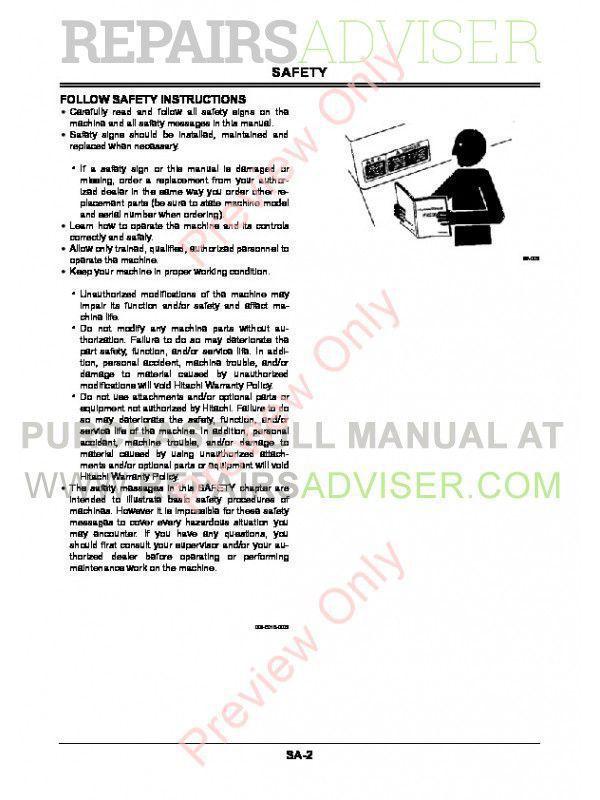 Hitachi ZX85USBLC-3 Hydraulic Excavator Workshop Manual PDF, Hitachi Manuals by www.repairsadviser.com