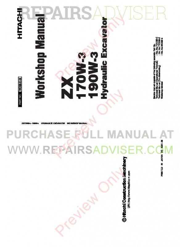 Hitachi Zaxis ZX170W-3 & ZX190W-3 Wheeled Excavator Workshop Manual PDF image #1
