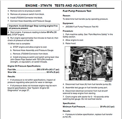john deere 2305 service manual table of contents
